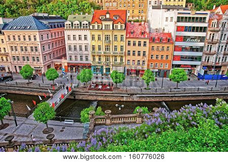 Roof Top View On Promenade Of Karlovy Vary Czech Republic