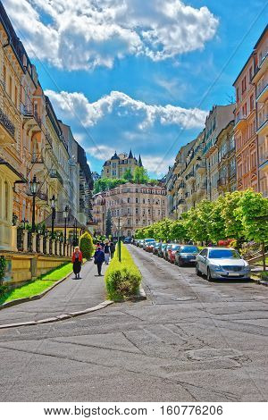 Street With People In Karlovy Vary Czech Republic