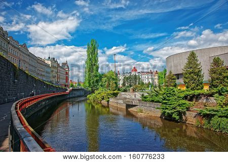 Tepla River And City Architecture At Promenade In Karlovy Vary