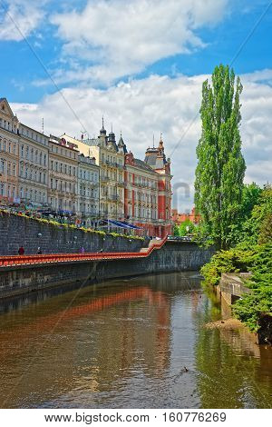Tepla River And Its Promenade Karlovy Vary Czech Republic
