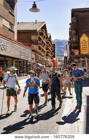 Tourists At Center In Zermatt Valais