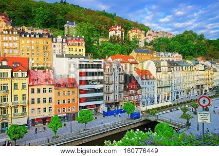 View On Promenade In Karlovy Vary Czech Republic