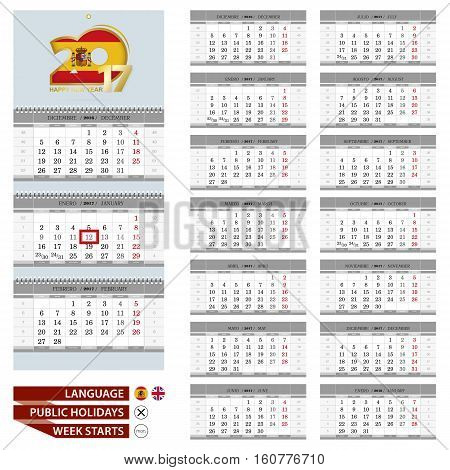 Wall Calendar Planner Template For 2017 Year. Spanish And English Language. Week Starts From Monday.