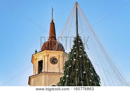 Christmas Tree With Decorations And Belfry On Cathedral Square Vilnius