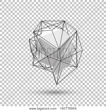 White abstract shape with low-poly, polygonal triangular mosaic texture and realistic shadow for logo, design concepts, web, presentations and prints. Realistic 3D render design. Vector illustration.