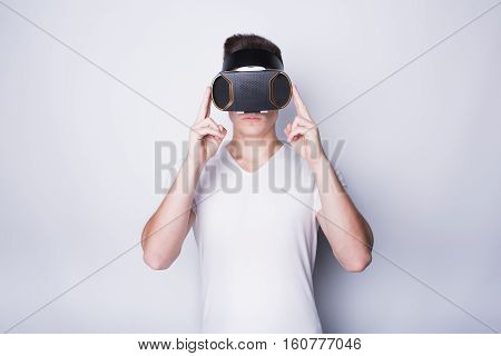 Young Man Trying Vr Goggles