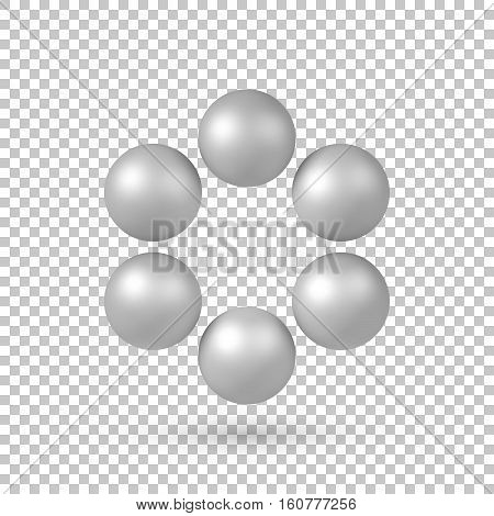 White abstract array with pearl spheres, atom, molecule grid with realistic shadow and transparent background for logo, design concepts, web and prints. 3D render design. Vector illustration.