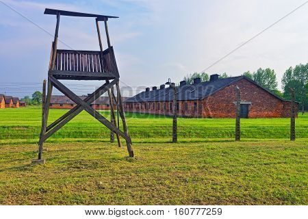 Guard Tower In Auschwitz Birkenau Concentration Camp