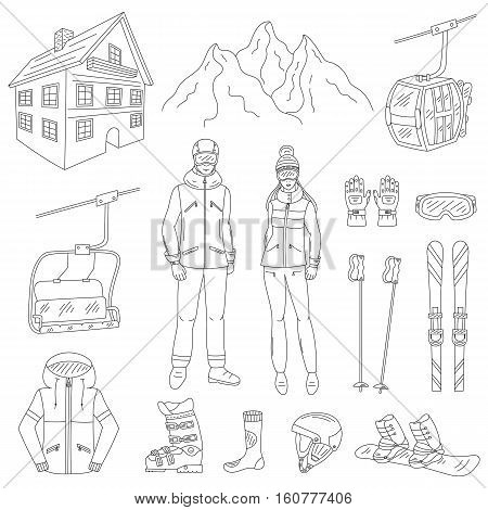 Ski resort line icons set snowboarder man and woman, resort hotel, mountains, funicular, chairlift, winter sport equipment, isolated hand drawn doodle vector illustration.