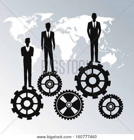 business people teamwork workforce staff gear vector illustration eps 10