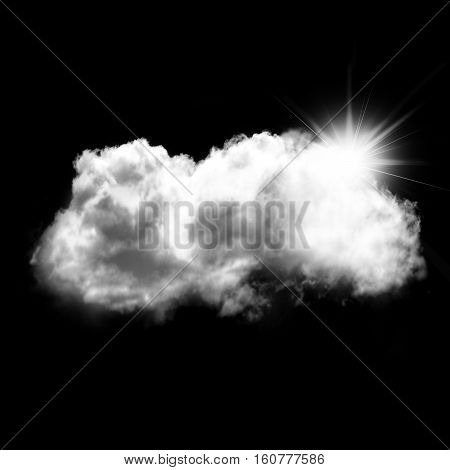 White cloud shape with a sun behind it isolated over black background 3D rendering illustration design elements. Sunny weather cloud shape
