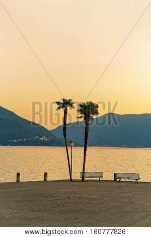Sunset At Embankment Of Ascona Switzerland
