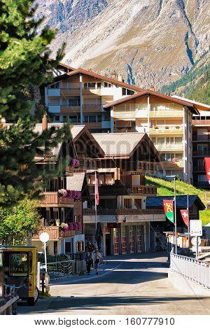 Tourists At Town Center In Zermatt