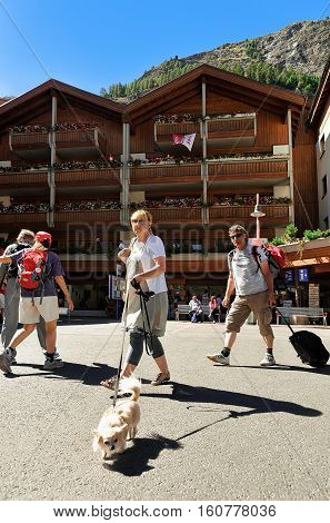 Travelers With Pet At Tourist Information Office Of Zermatt