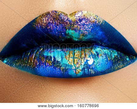 Fashion And Beauty. Creative Lip Makeup. Artistic Make-up