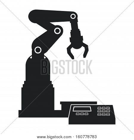 silhouette robotic production line mechanic manufacture vector illustration eps 10