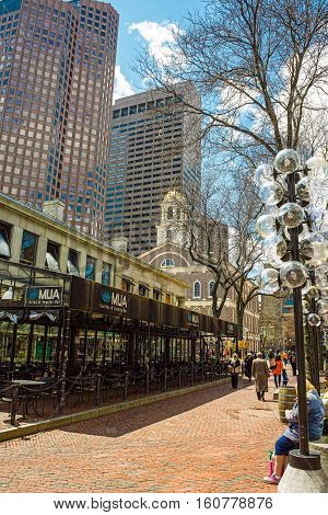 Faneuil Hall And Marketplace In Government Center In Downtown Boston