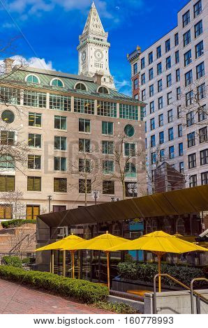 Financial District And Custom House Tower At Faneuil Hall Square