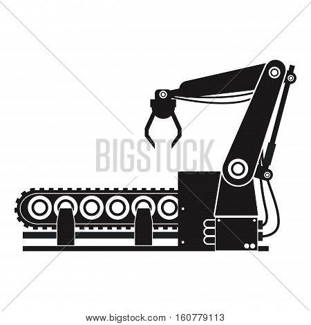 silhouette robotic production line manufacturing vector illustration eps 10
