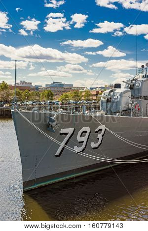Fletcher Class Destroyer Uss Cassin Young In Navy Yard Boston