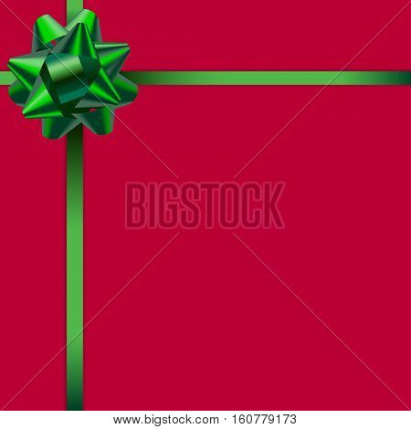 Beautiful card with red background and cute gradient green ribbon. Green bow. Vector card template.