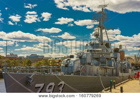 Front Of The Uss Cassin Young Ship Moored In Boston
