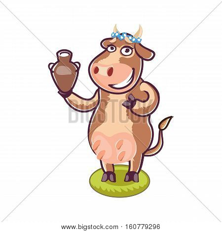 Happy cartoon cow holding milk. Vector clip art illustration with simple gradients. All in a different layers.
