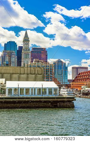 Harbor And The Skyline Of Financial District In Boston
