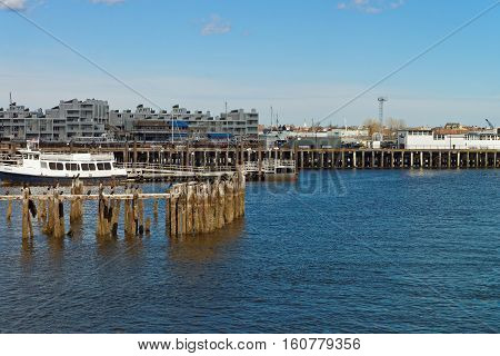 Harbor At Boston Wharf In Charles River