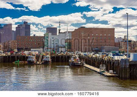 Harbor In Boston Wharf Of Charles River