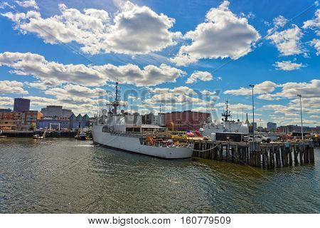 Large White Ship Moored In The Harbor In Boston