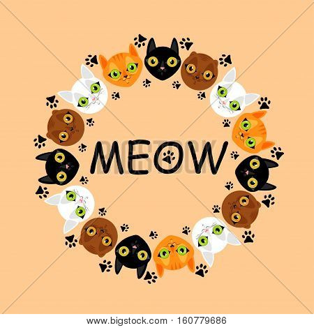 Cute cats faces colorful pattern background. Meow cats and footprints. Vector illustration.