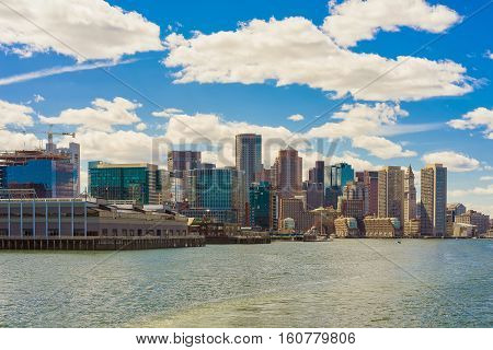 Magnificent Skyline Of Boston During The Sunny Day