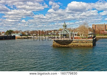 Memorial For Master Shipbuilder At Boston Wharf In Charles River