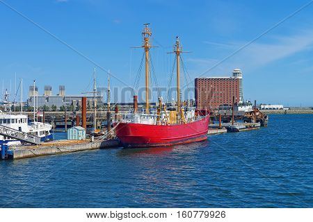Moored Red Ship Near Pier At The Bay In Boston
