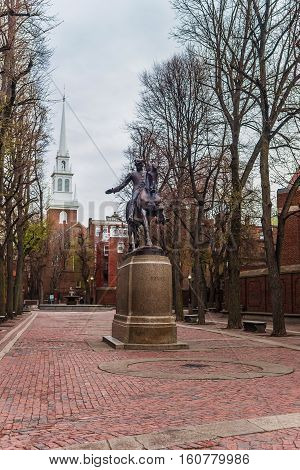 Old North Church And Statue Of Paul Revere In Boston