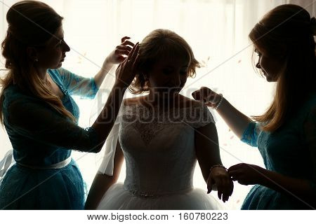 Beautiful luxury bride with bridesmaids before the wedding
