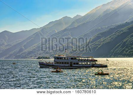 Passenger Ferry Ship And Catamarans In Ascona In Switzerland