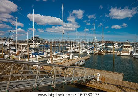 Pier Of Long Wharf And Sailboats