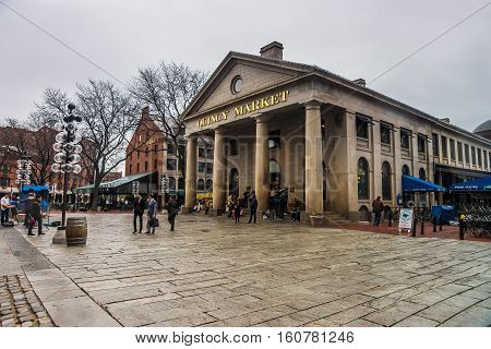 Quincy Market At Faneuil Hall Marketplace In Downtown Boston