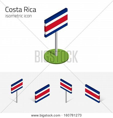 Costa Rican flag (Republic of Costa Rica) vector set of isometric flat icons 3D style different views. Editable design elements for banner website presentation infographic poster map. Eps 10
