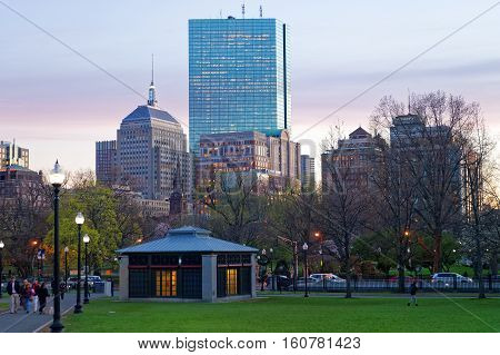 Skyline And Boston Common Public Park In Evening