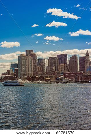 Skyline Of Boston And Floating Ship During The Sunny Day