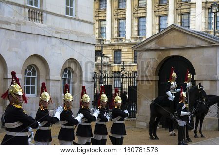 royal horse guards at whitehall in london