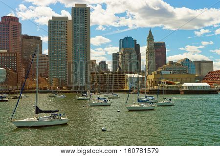 Skyline Of Boston And Floating Sailboats