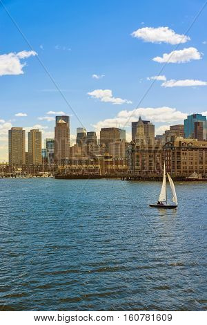 Skyline Of Boston And The Sailboat During The Sunny Day
