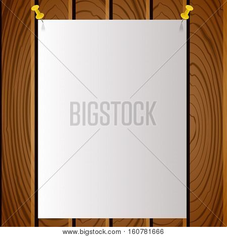 White note post pattern with pins on wooden board. Advert on wooden texture background. Vector illustration.