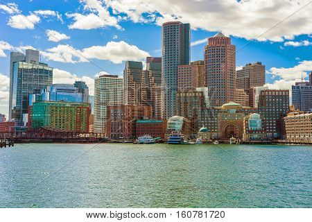 Skyline Of The City Of Boston Behind The River