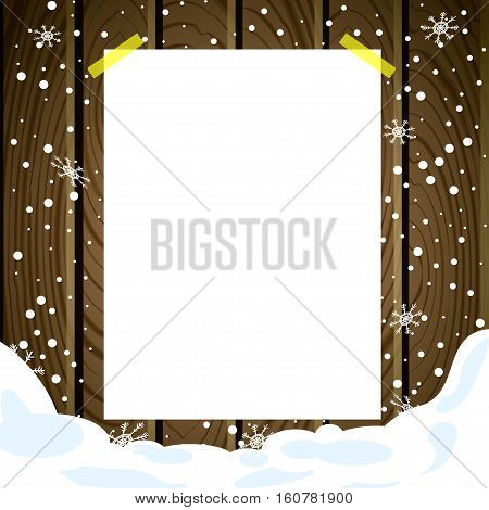 White note post pattern with pins on wooden board. Advert on wooden texture background with snow. Vector illustration.
