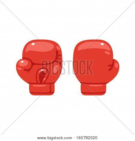 Cartoon red boxing glove icon front and back. Isolated vector illustration.